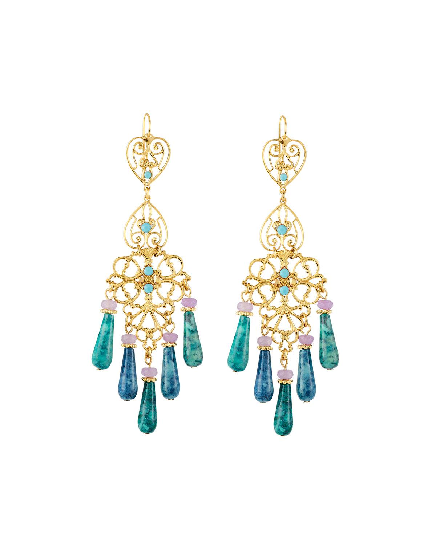 Jose & Maria Barrera Agate & Crystal Filigreed Chandelier Earrings vNWEoy