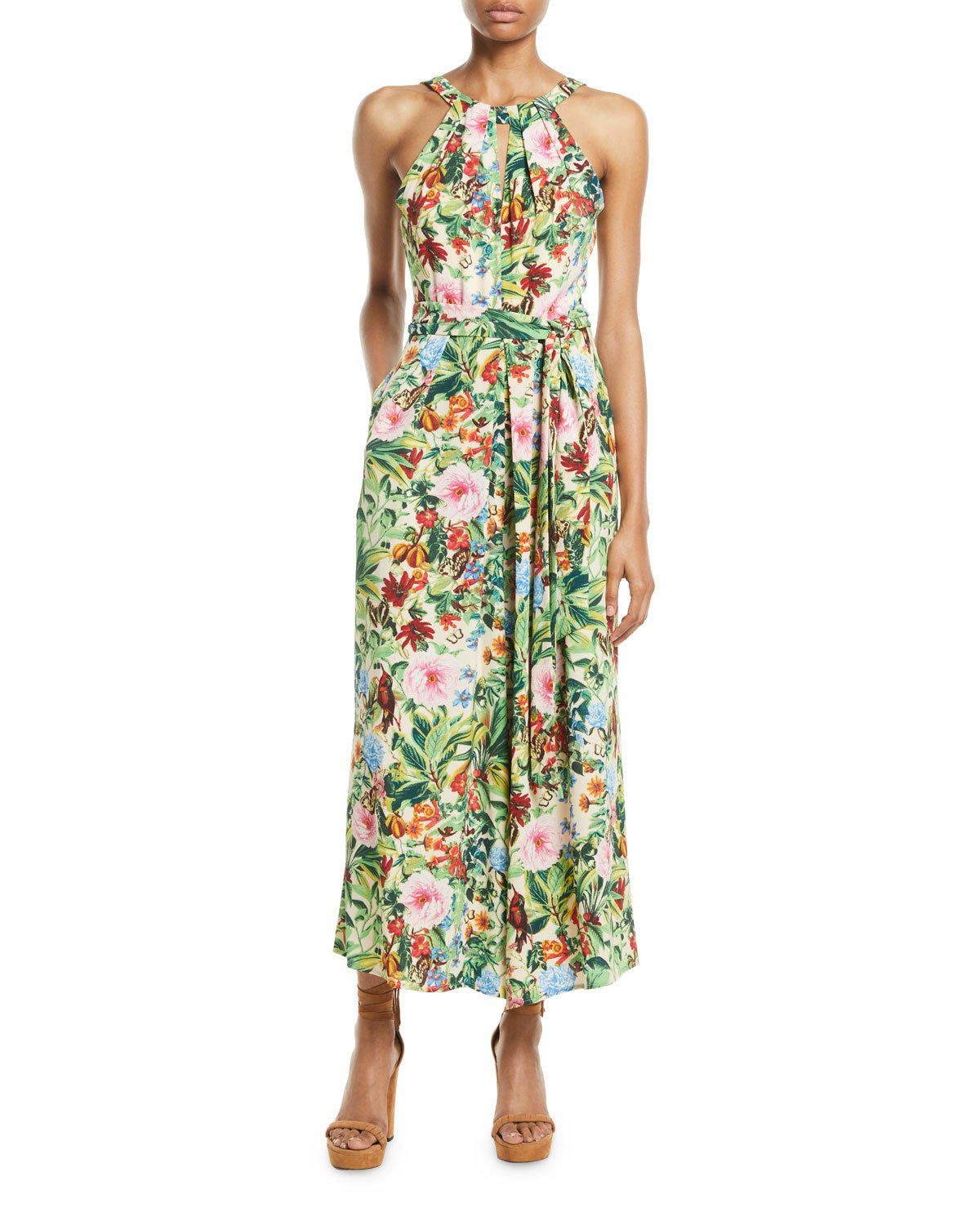 3754259f516e Lyst - Maggy London Birdland Tropical Halter Jumpsuit