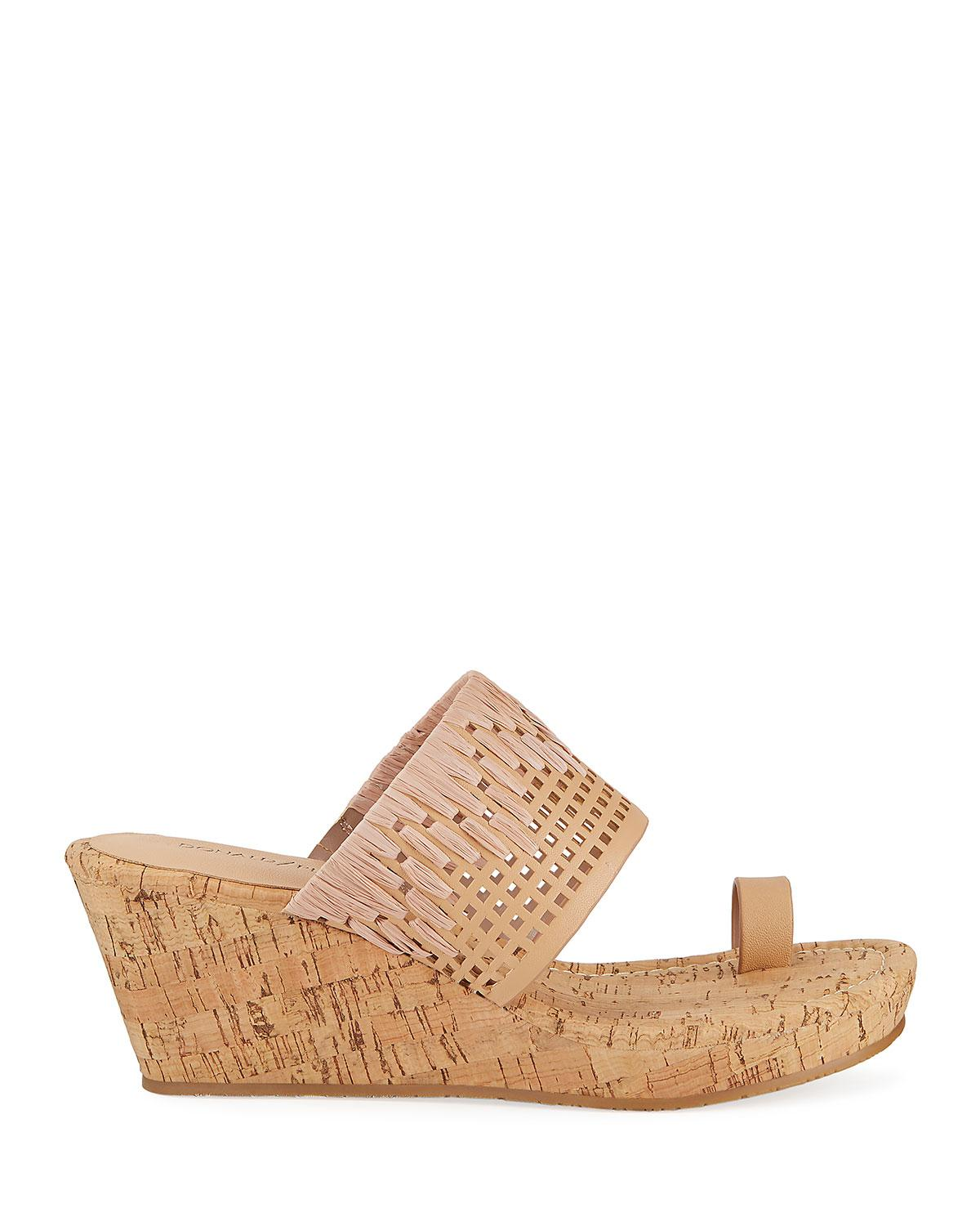 40ad68182 Lyst - Donald J Pliner Cutout Leather Cork-wedge Sandals