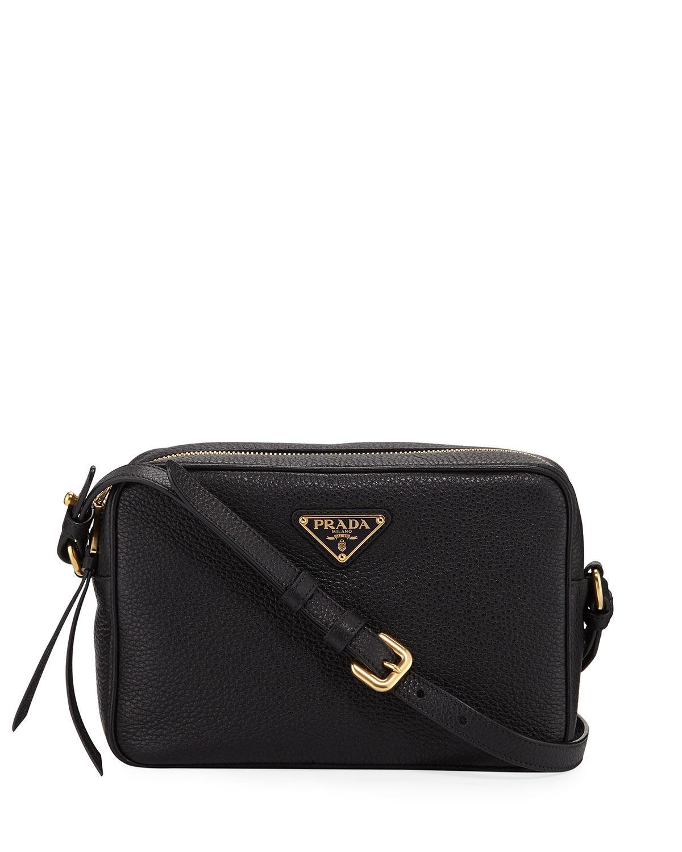 d36d1ce243 Prada - Black Pebbled Leather Crossbody Bag - Lyst. View fullscreen