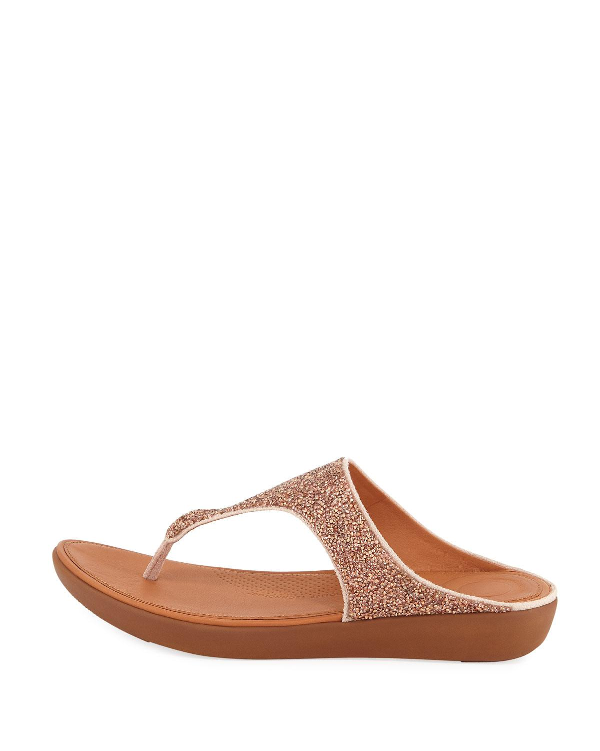 0071bea2b Lyst - Fitflop Banda Ii Quartz Glitter Thong Sandals in Natural