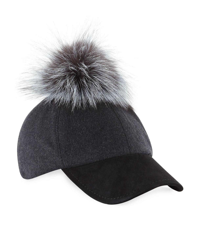 21af6546816 Lyst - Adrienne Landau Fox Fur Pompom Felt Baseball Cap Gray in Gray ...