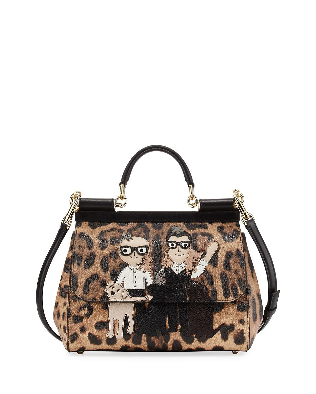 Lyst - Dolce   Gabbana Sicily Medium Dg Family Patch Bag Brown black 9d2465fca3d97