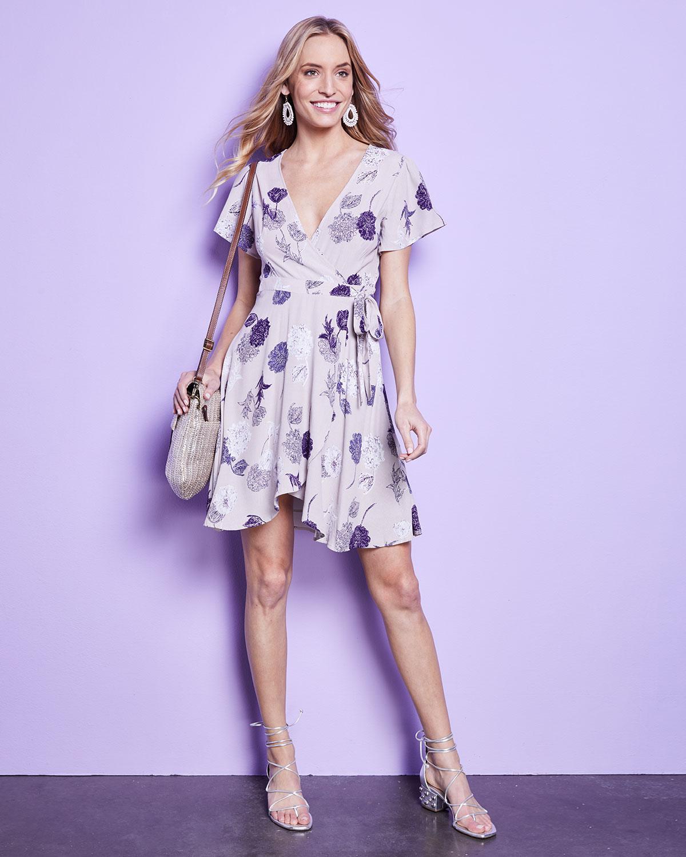 c12ad1b22fb Lyst - Astr Floral Flutter-sleeve Wrap Dress in Gray