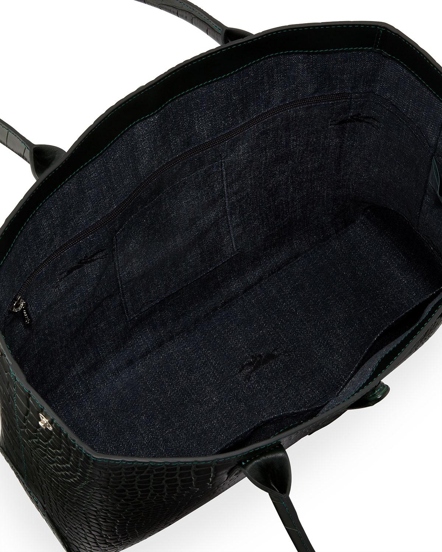08e3330b3ae4 ... Lyst - Longchamp Roseau Crocodile-embossed Tote Bag in Black best loved  cbbc2 cc7b0 ...