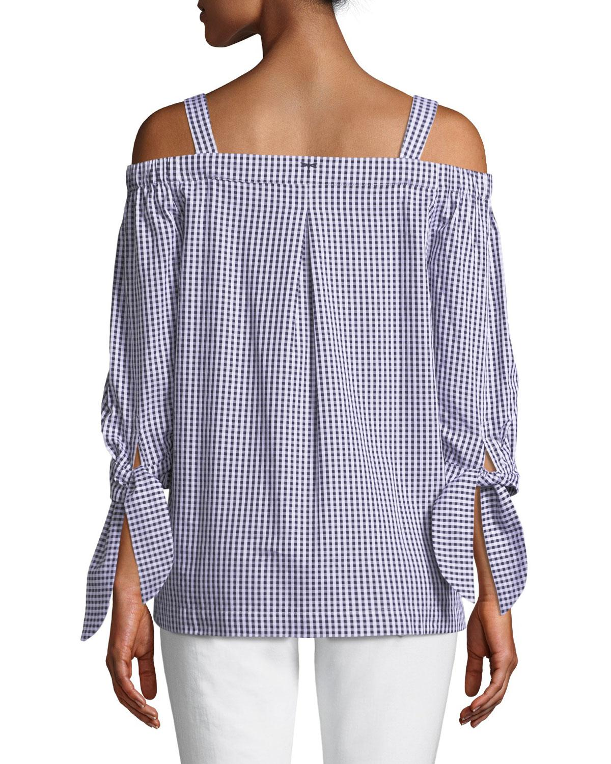 Deals Cali Gingham Cold-Shoulder Tie-Sleeve Blouse Neiman Marcus Clearance Fast Delivery Clearance Lowest Price Fashion Style Clearance Countdown Package BLiifr5251
