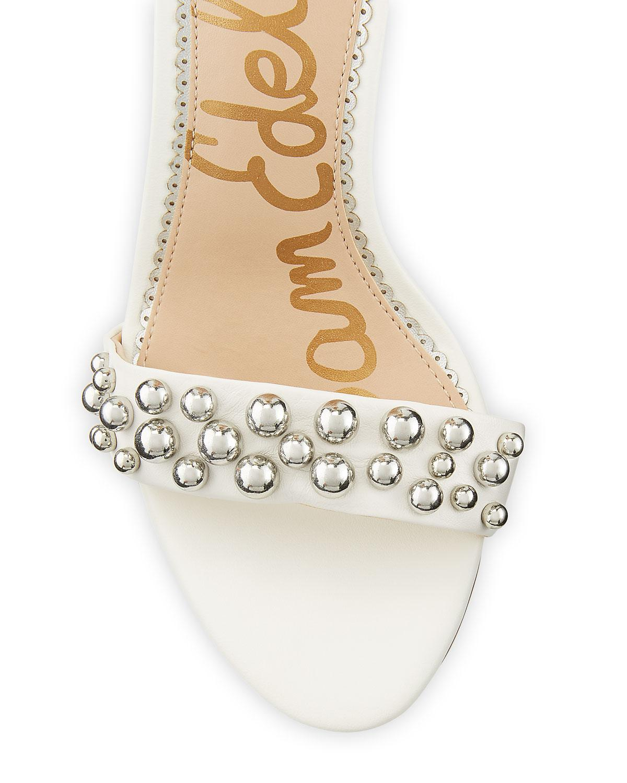 a45557c304f6 Sam Edelman - White Yoshi Ball-studded Leather Ankle-wrap Sandals - Lyst.  View fullscreen