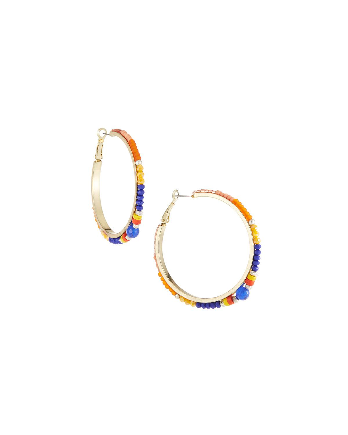 Nakamol Multicolor Bead Hoop Earrings tQB1y7KWL