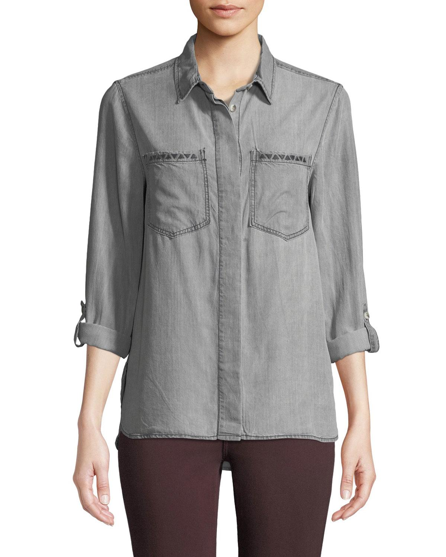 66e664182 Lyst - Velvet Heart Lola Embroidered Pocket Button-down Shirt in Gray