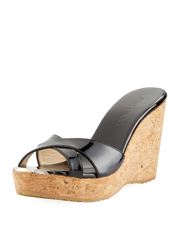 0f5d0cc23897 Lyst - Jimmy Choo Pandora Patent Cork Wedge Sandal in Black