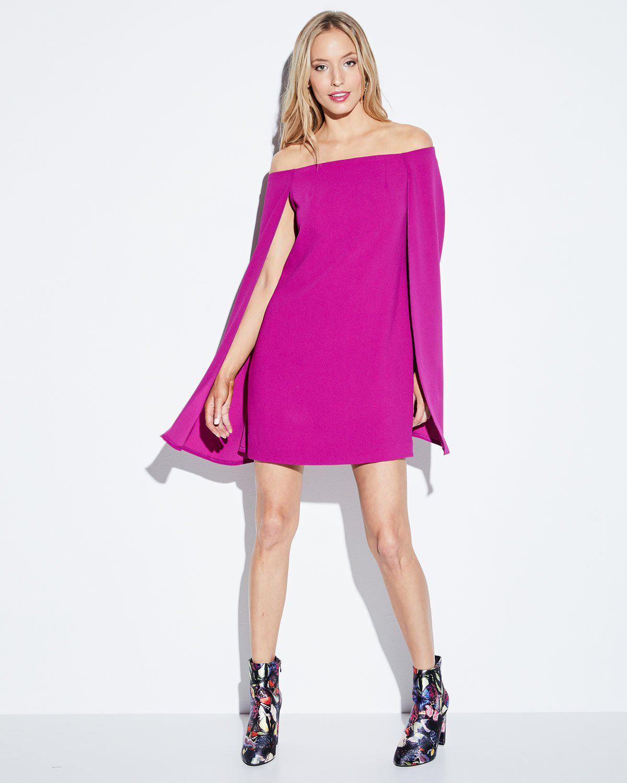 cfce448acca Lyst - Trina Turk Crepe Off-the-shoulder Cape Dress in Purple