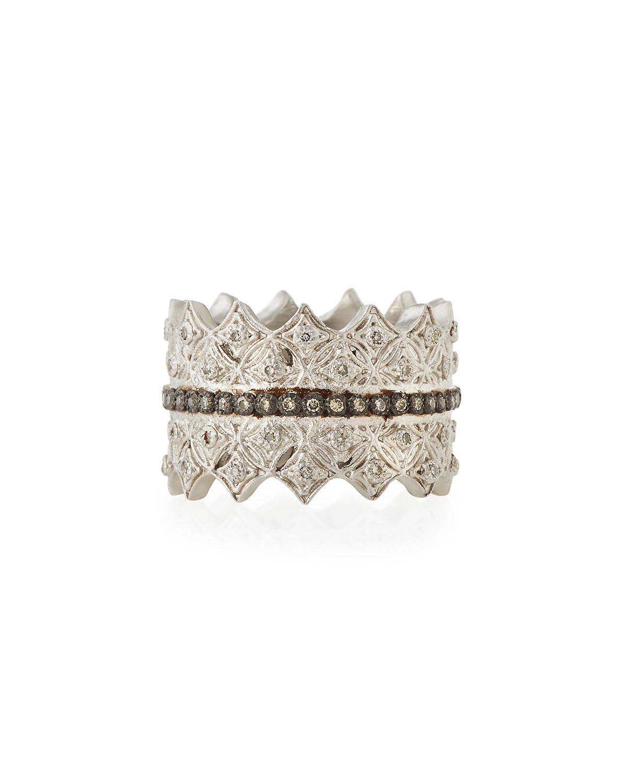 Armenta New World Midnight Crivelli Diamond Pavé Wide Ring, Size 7