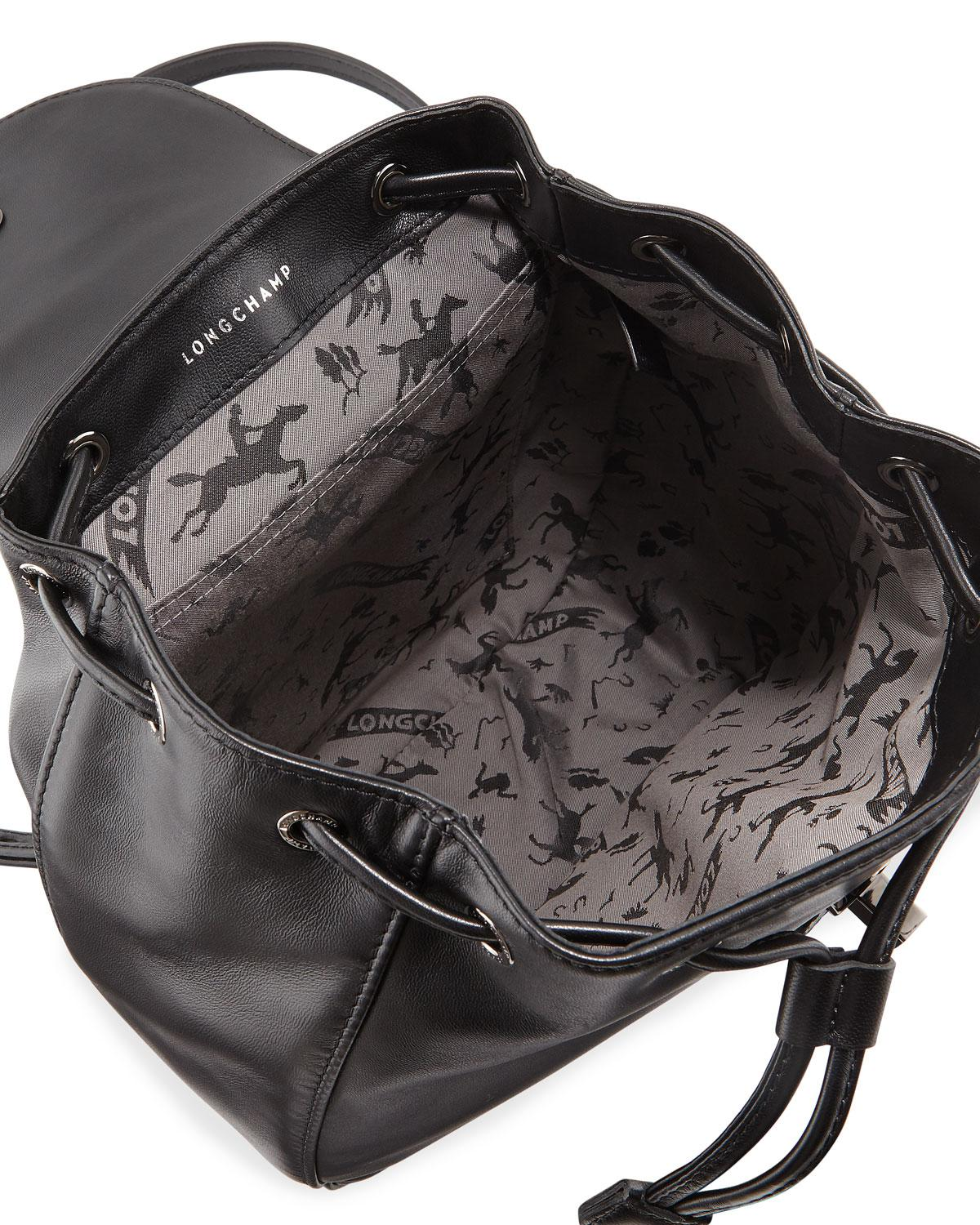 7097c0c70880 Lyst - Longchamp Cavalcade Leather Backpack in Black - Save 40%