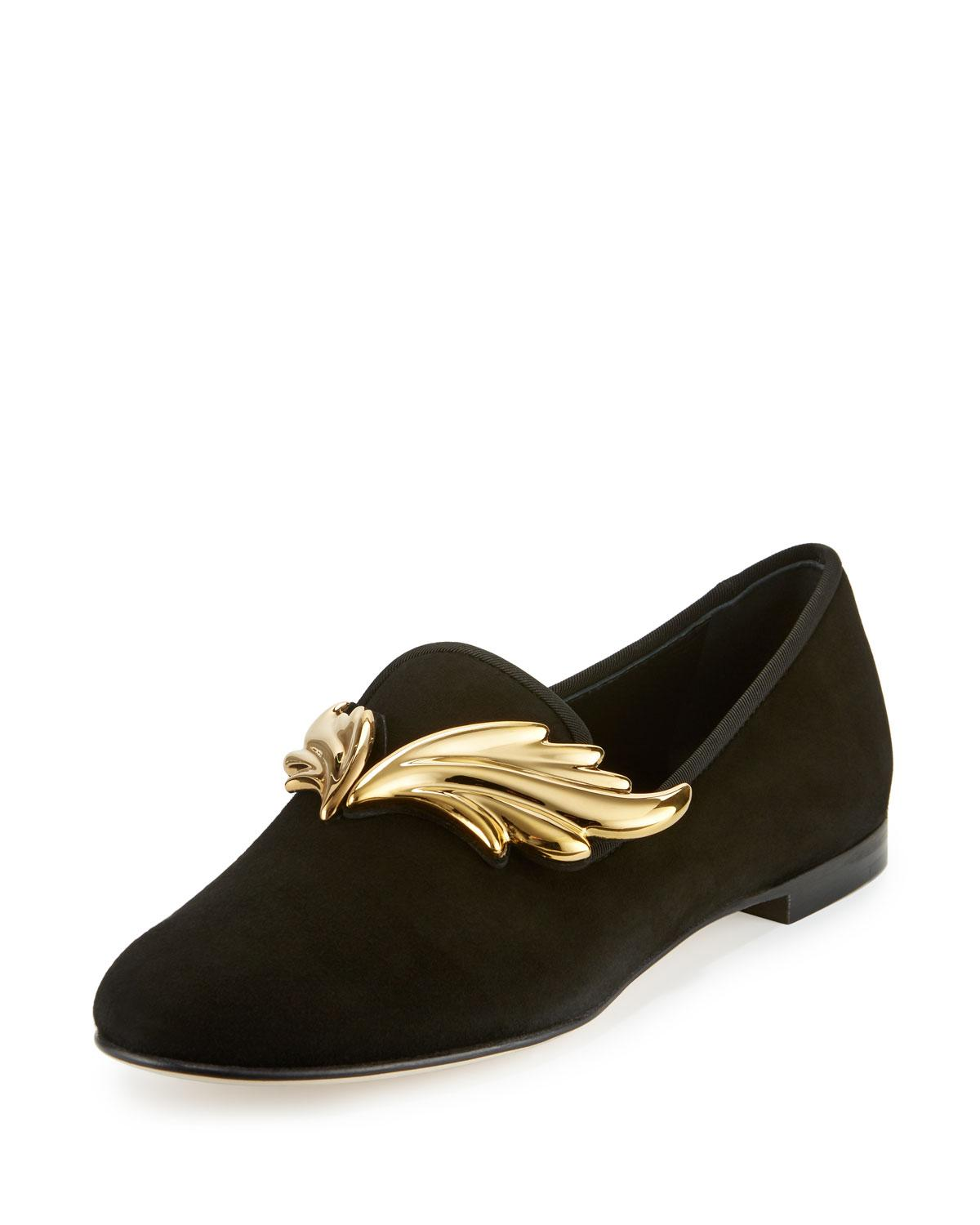 Giuseppe Zanotti. Women's Black Dalila Wings Suede Smoking Slipper