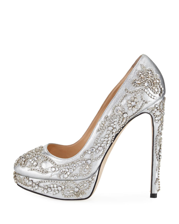 Rose embellished pumps - Metallic Marchesa 1FsPz
