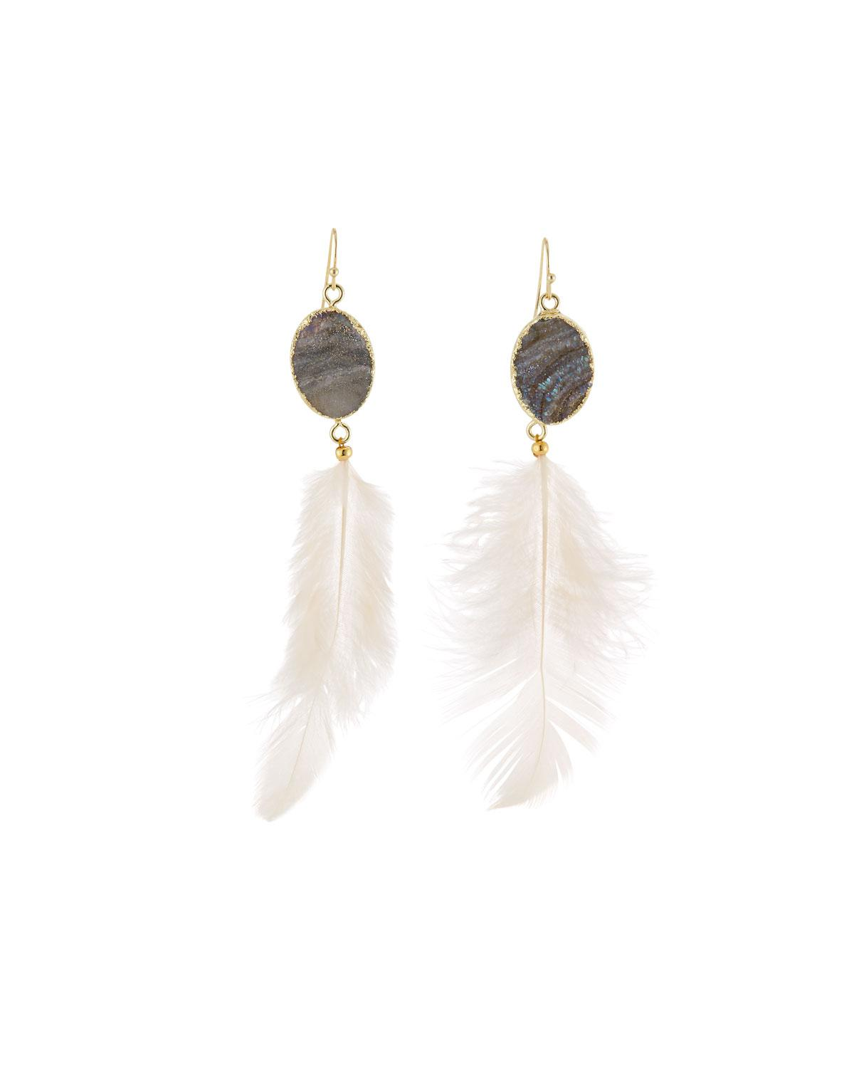Panacea Sunstone & Feather Drop Earrings puwOyS