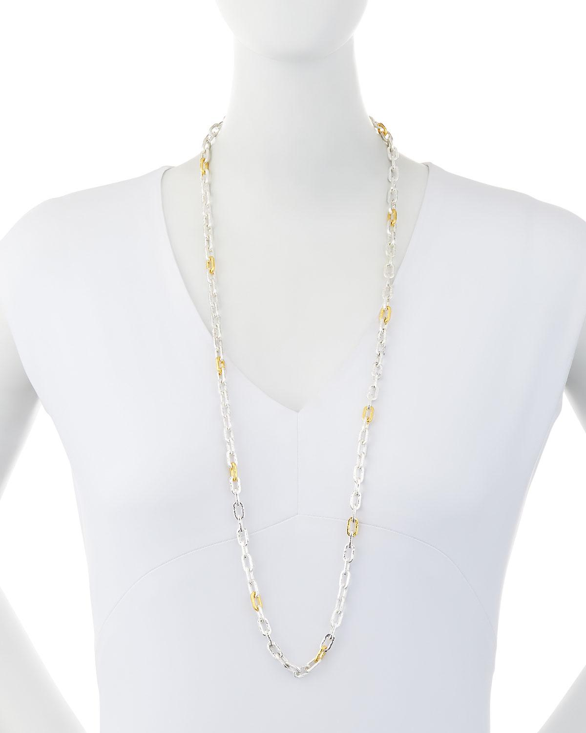 Gurhan Two-Tone Oval-Link Chain Long Necklace, 36L