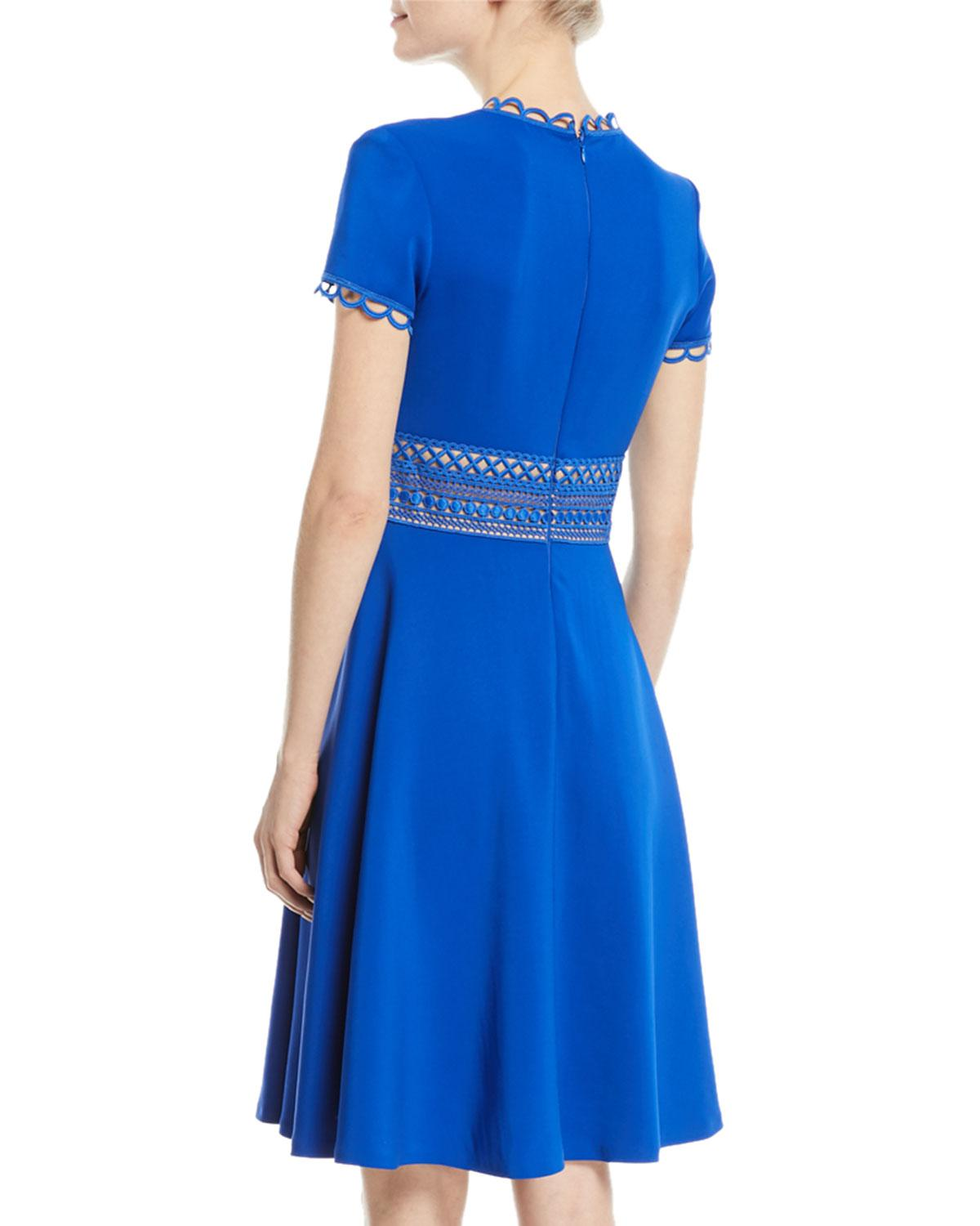 871f2ef1ba0 Lyst - NK32 Naeem Khan Crepe Short-sleeve Cocktail Dress W  Lace Band in  Blue - Save 40%