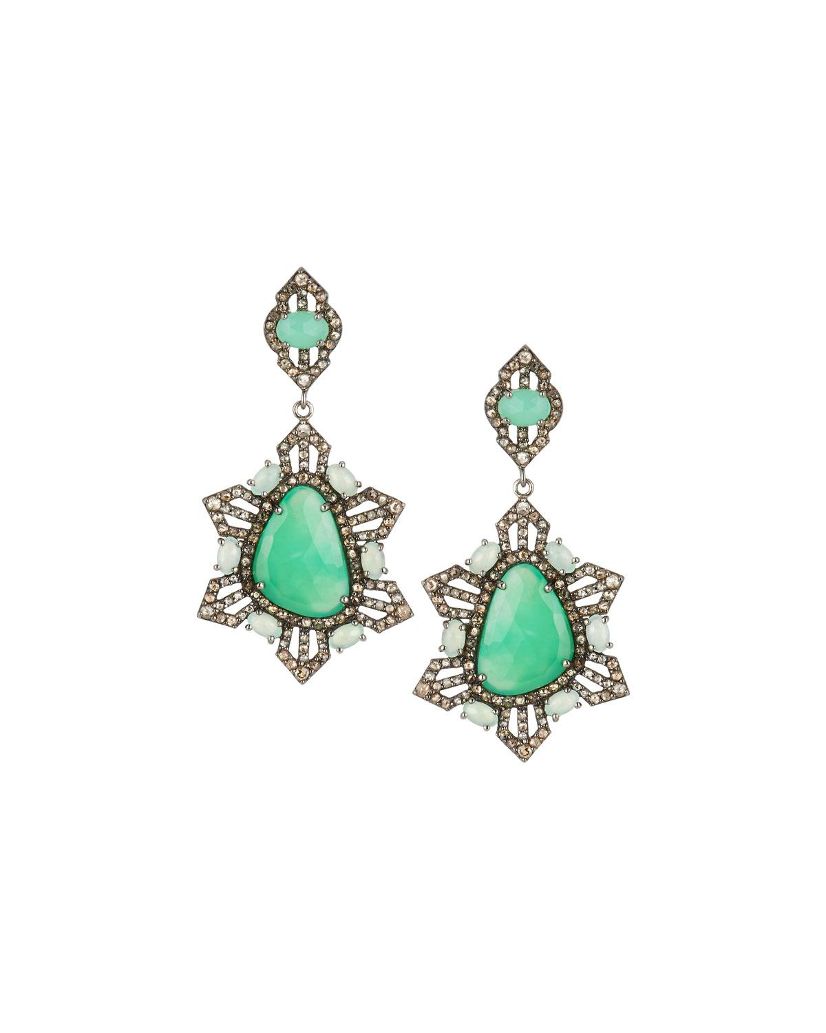 Bavna Pale Green Sapphire Pear Drop Earrings 5Tbhsrs03
