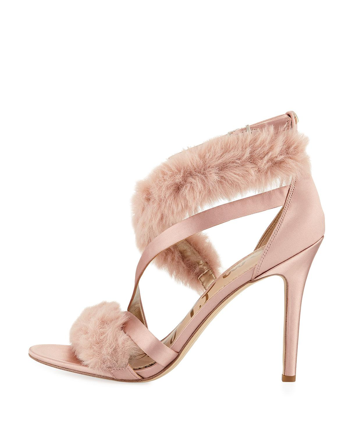 3f06be63b72 Lyst - Sam Edelman Adelle Satin And Faux Fur Pumps in Pink - Save 66%