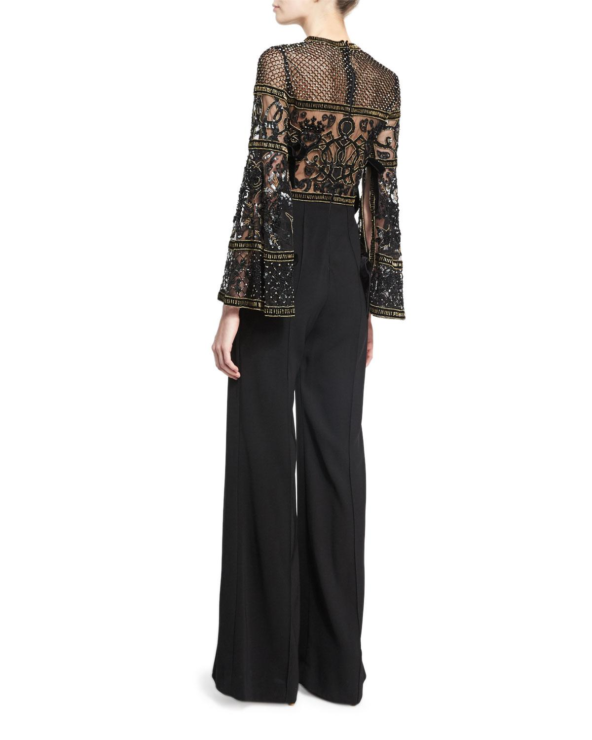 4e8f4786e100 Lyst - Elie Saab Wide-leg Bell-sleeve Jumpsuit With Beaded Bodice in ...