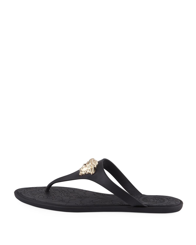 8cf06de28a2b1 Lyst - Versace Gold Medusa Flat Slide Thong Sandal in Black