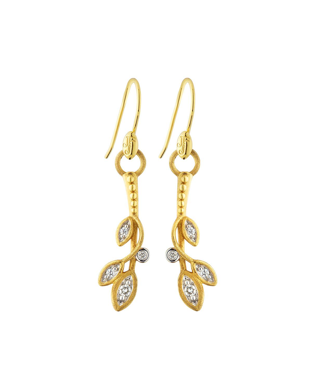 Jude Frances 18k Pave Diamond Leaf Hoop Earrings 10sDtb