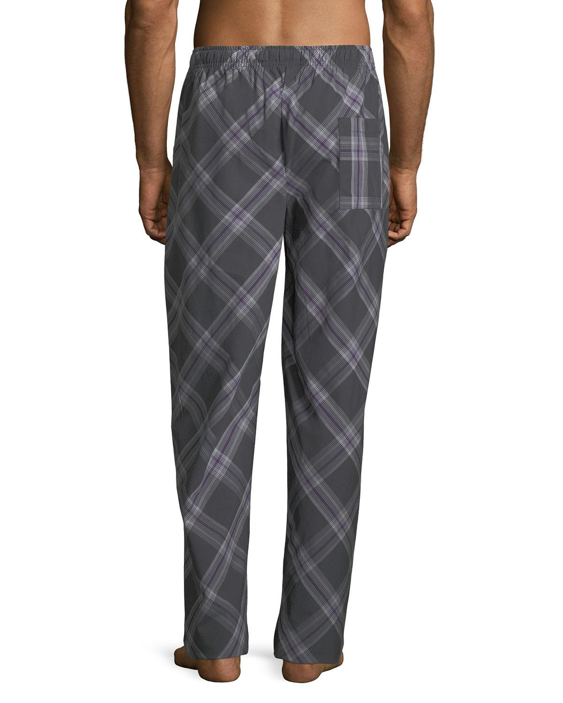 Psycho Bunny Men/'s Black Eggplant Plaid Woven Lounge Pajama Pants