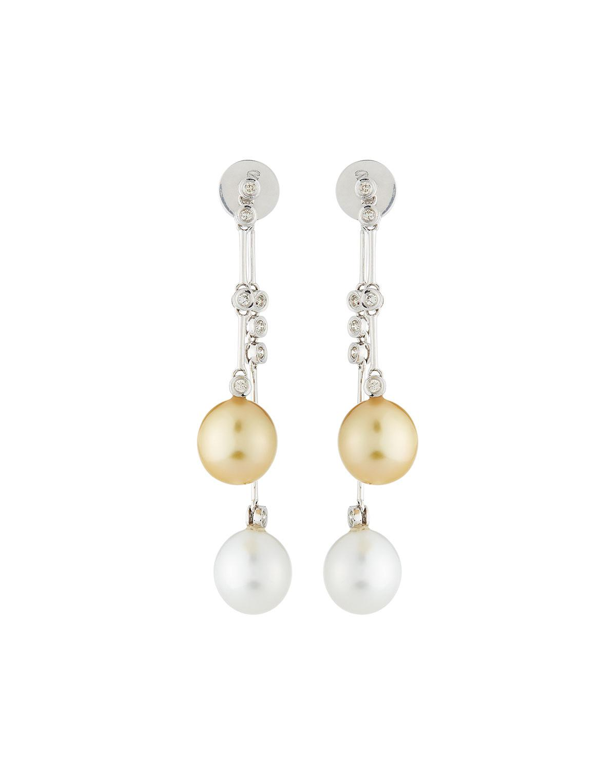 Belpearl 14k White South Sea Pearl & Diamond Drop Earrings, 10-11mm