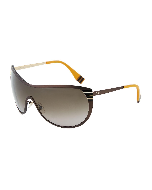 d576802581 Lyst - Fendi Metal Shield Sunglasses in Metallic
