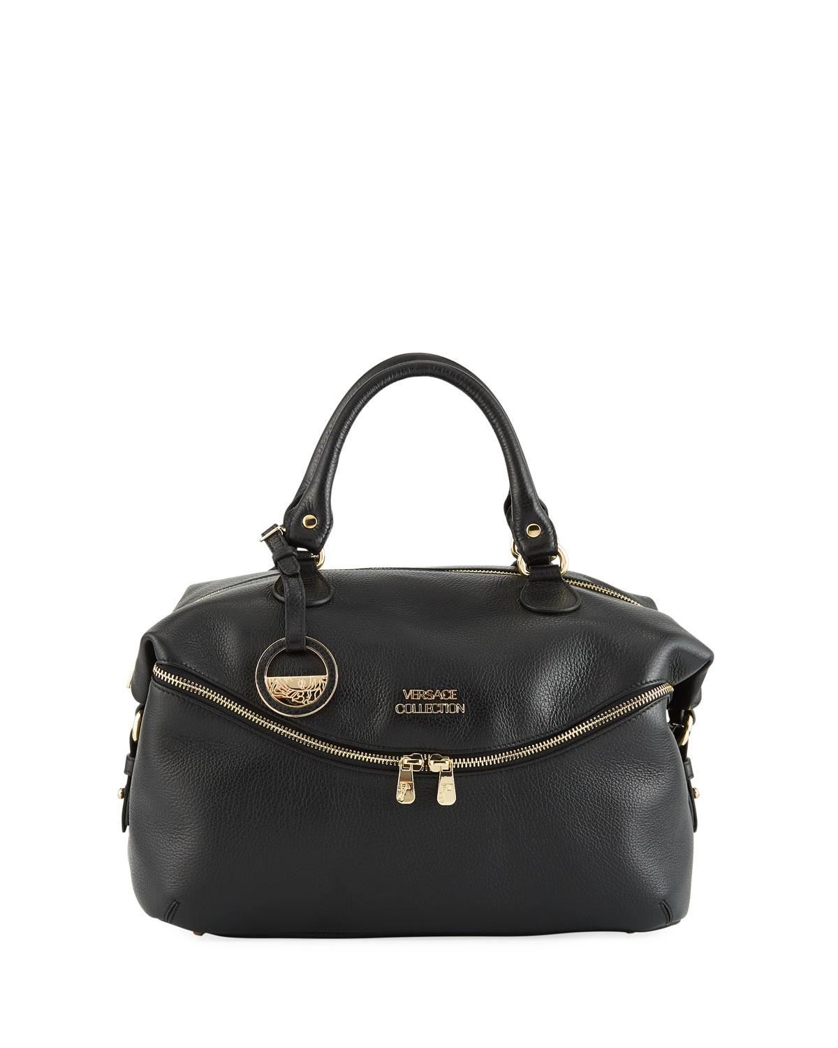 13ab70db03d5 Lyst - Versace Pebbled Leather Top-handle Tote Bag in Black