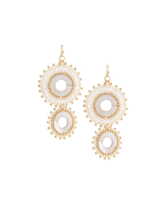 Panacea Double Howlite Circle Drop Earrings yLbWCO