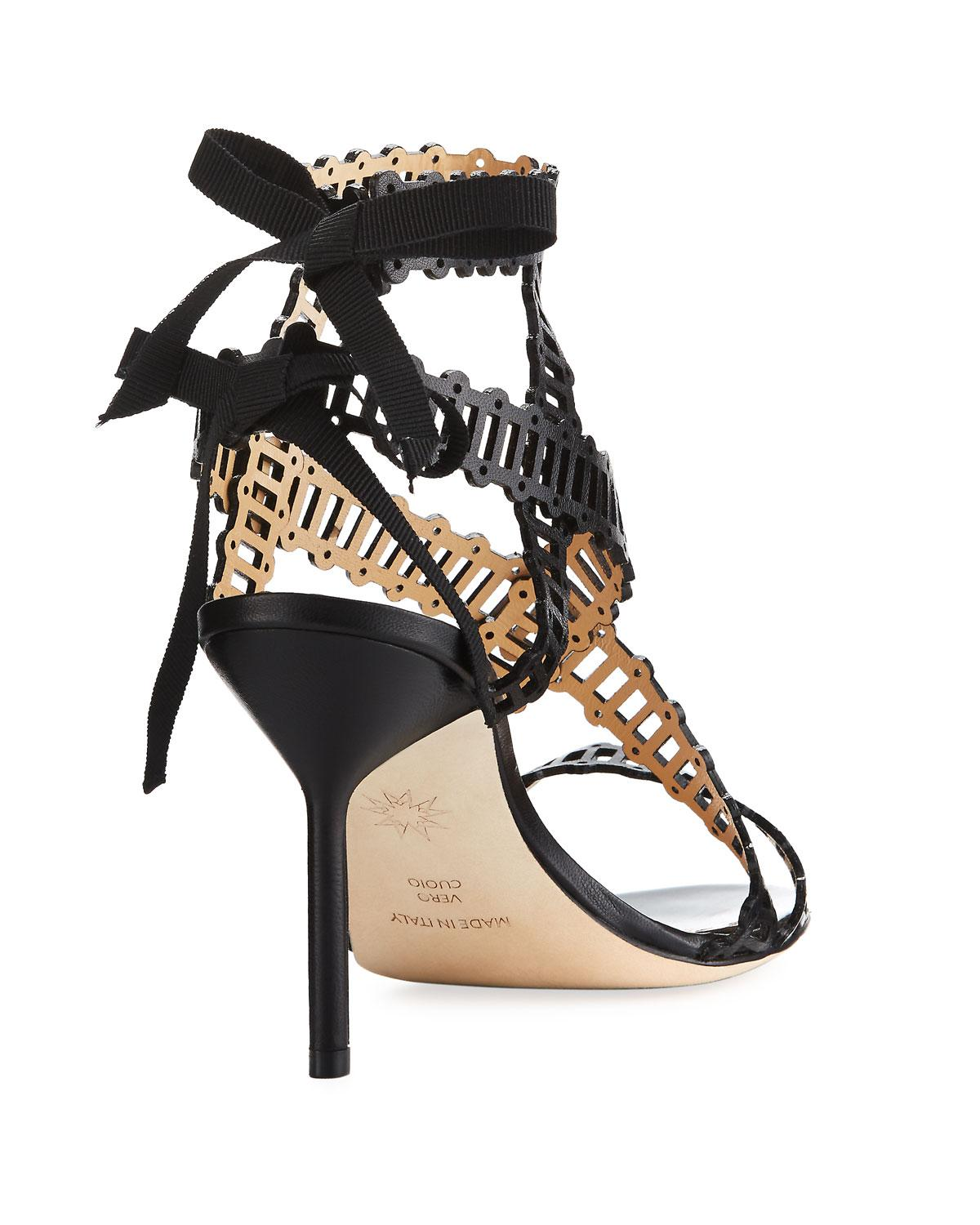 439d9e6d2f Lyst - Marchesa Sarah Leather Sandal in Black