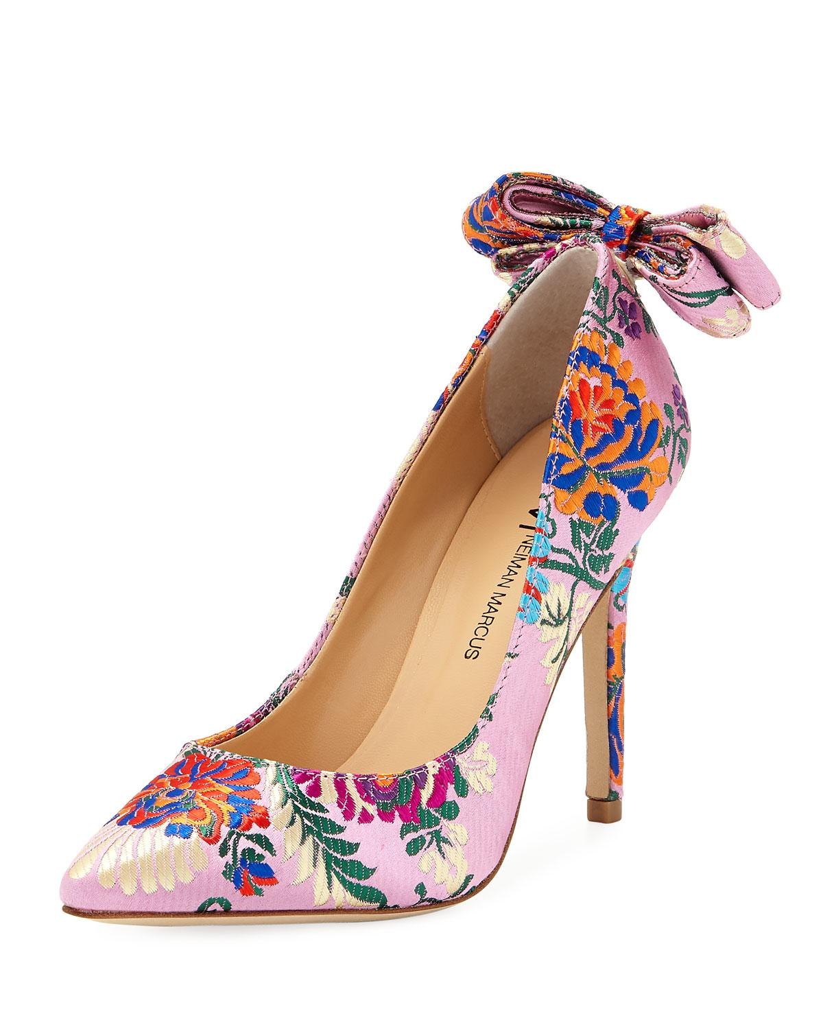 2305638d630 Lyst - Neiman Marcus Verity Floral-brocade Bow-back Pumps in Pink