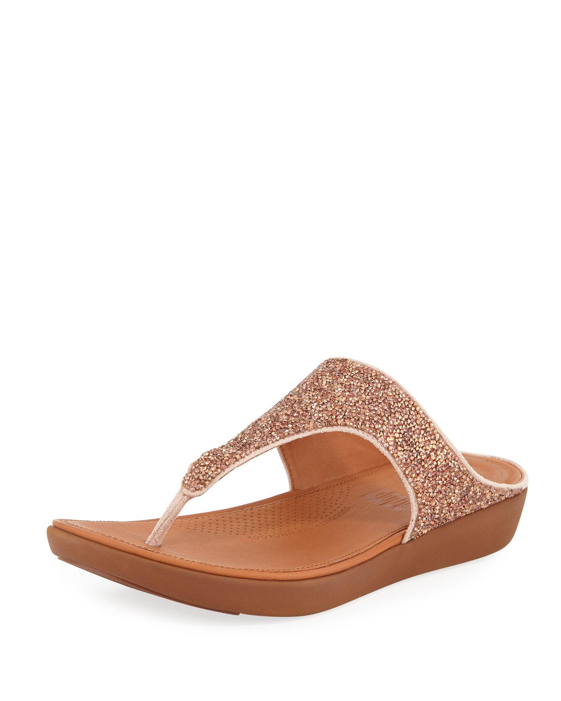 24843a6babff Lyst - Fitflop Banda Ii Quartz Glitter Thong Sandals in Natural
