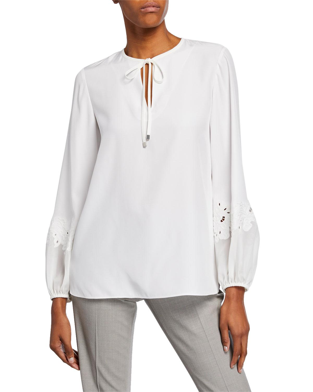c93278d1da50c Lyst - Lafayette 148 New York Eli Silk Blouse W lace-inset Sleeves in White
