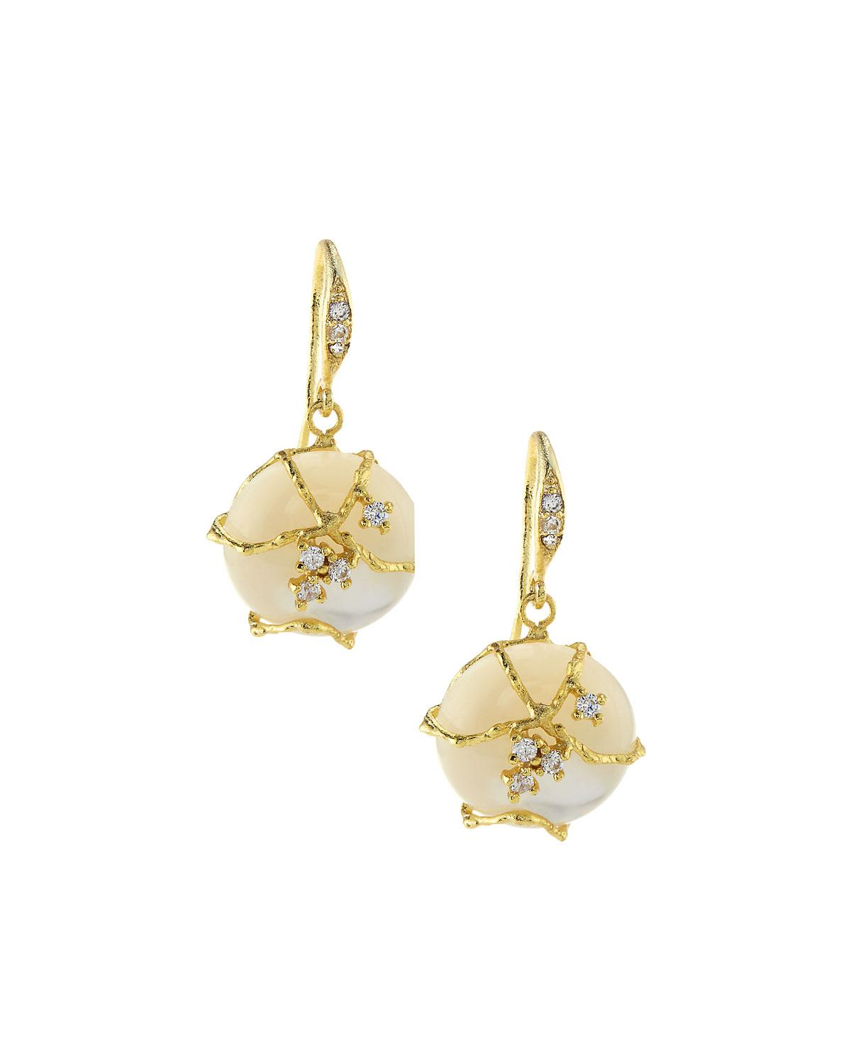 Indulgems Drop Earrings w/ Flower, White