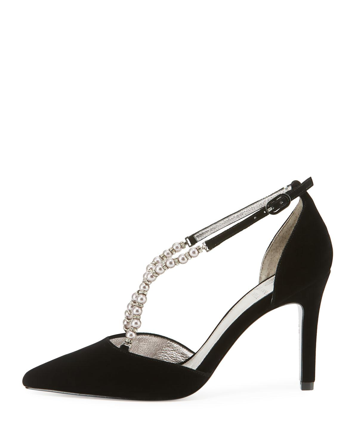 a0694cd858d7 Lyst - Adrianna Papell Pointed-toe Pumps With Beaded Straps in Black