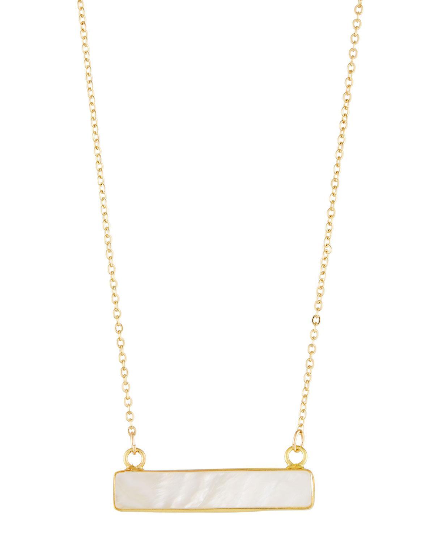 Panacea East-West Bar Pendant Necklace, Hot Pink