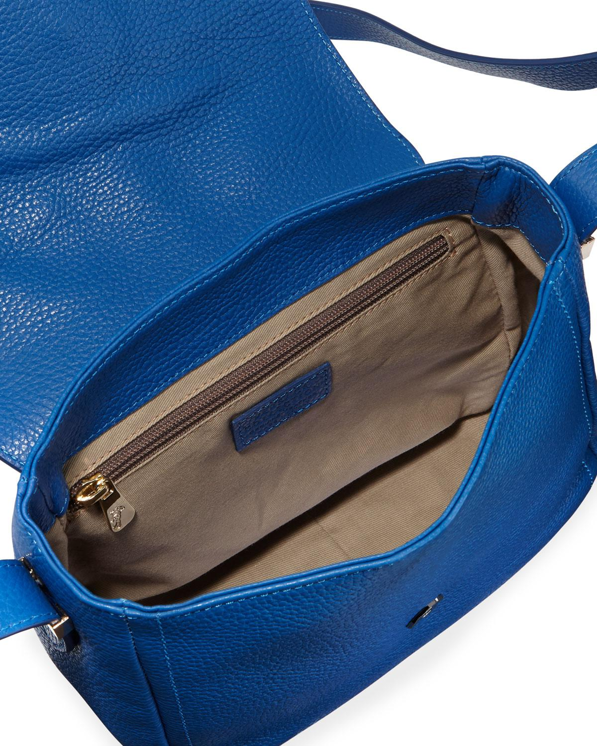 5e61e4158f0a Lyst - Versace Pebbled Leather Shoulder Bag in Blue