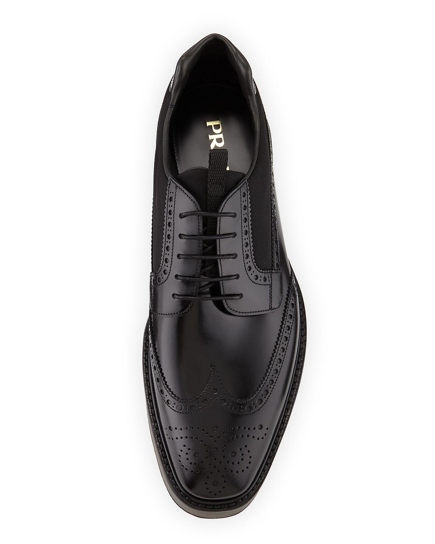 1de5894f096b Lyst - Prada Spazzolato Leather Platform Brogue Sneaker Black in Black for  Men