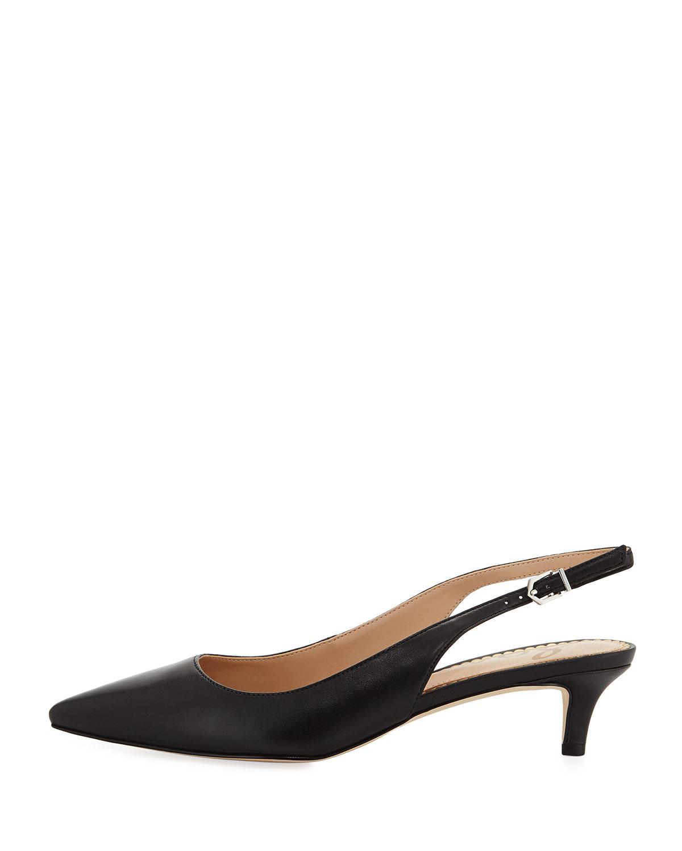 0069780539a2c7 Lyst - Sam Edelman Ludlow Leather Kitten-heel Slingback Pumps in Black -  Save 45%