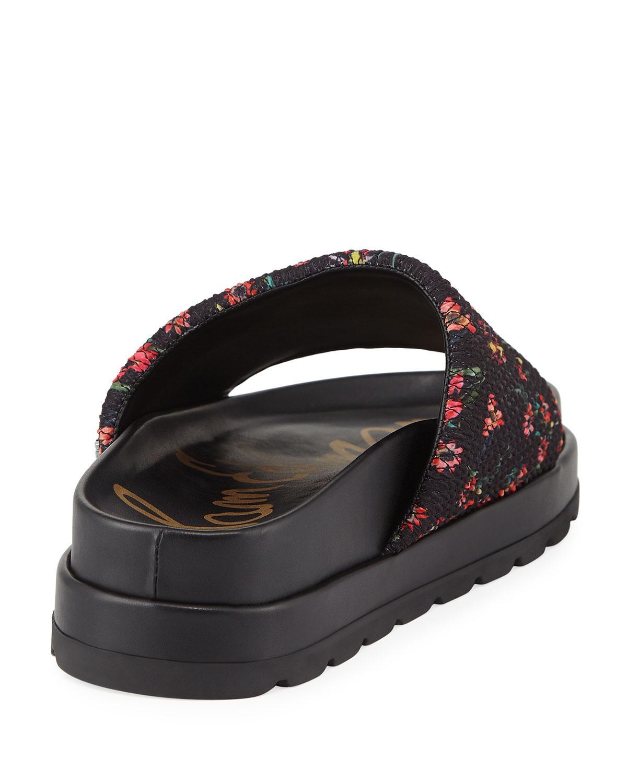 3596b2dee4cf Sam Edelman - Black Shaye Smocked Flatform Slide Sandals - Lyst. View  fullscreen