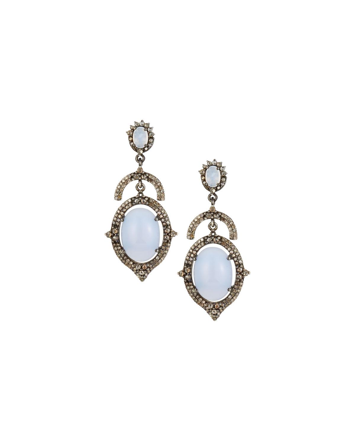 Bavna Open Chalcedony & Diamond Drop Earrings