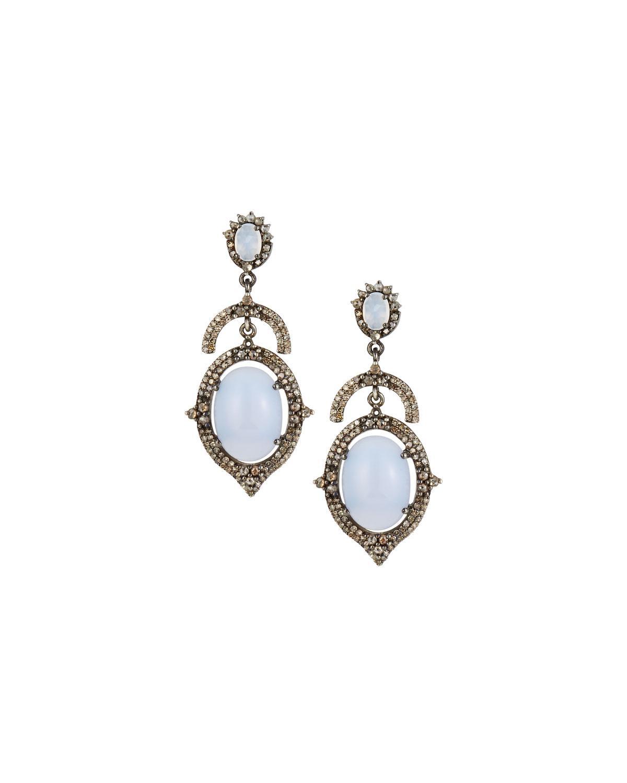 Bavna Open Chalcedony & Diamond Drop Earrings DjgWeQ3