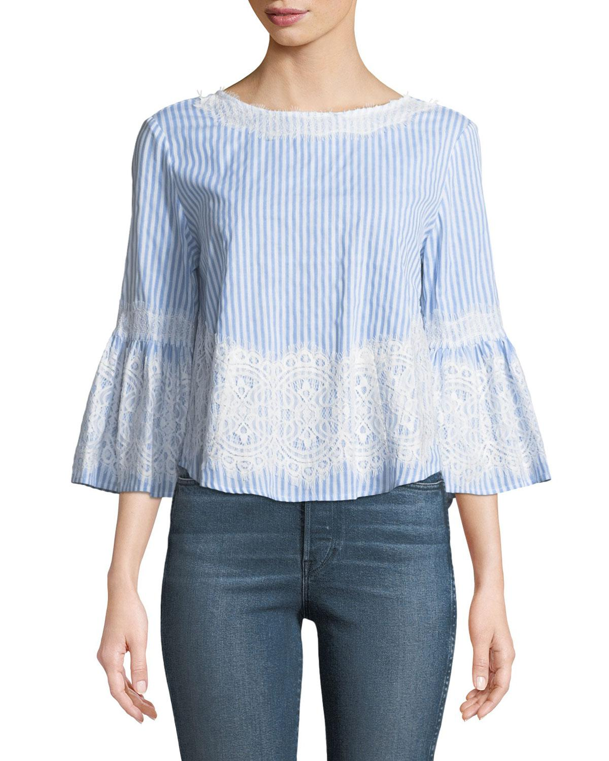 cabcd029be02b Lyst - Neiman Marcus Striped Lace-embroidered Blouse in Blue