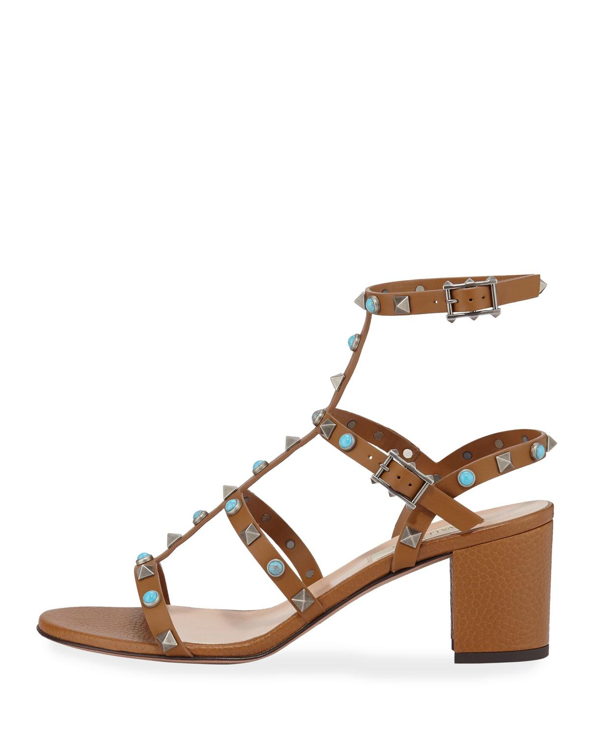 0a10c6546fb Lyst - Valentino Rockstud Rolling Leather 60mm City Sandals in Natural