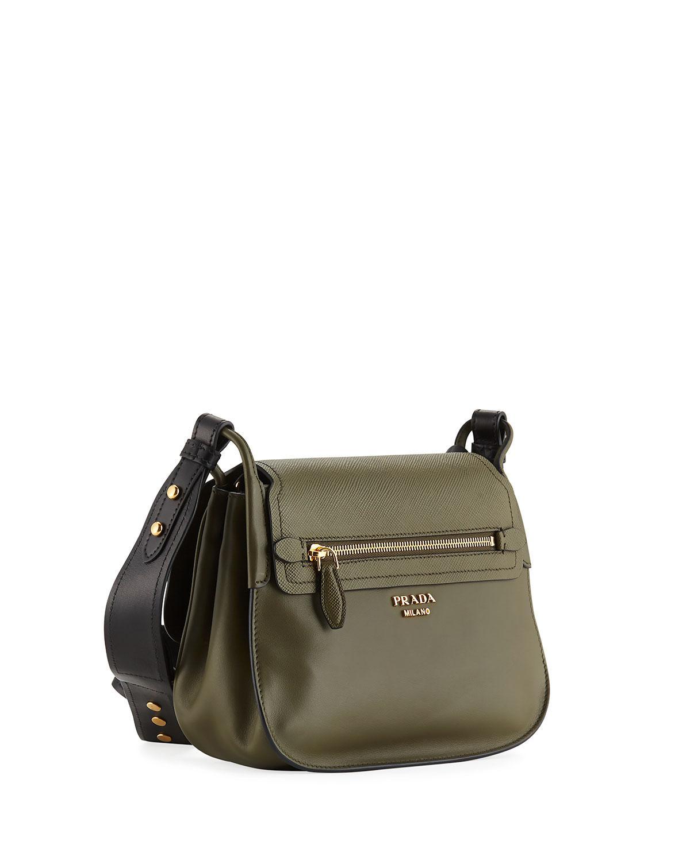 1230824fc7fe Prada Saffiano Corsaire Hunting Shoulder Bag in Green - Lyst