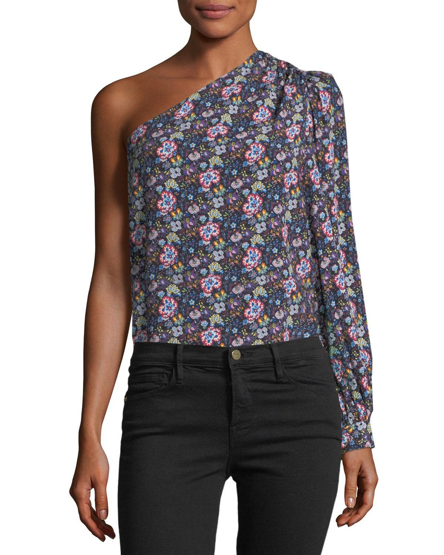 ec59f6a7699e Lyst - FRAME One-shoulder Floral-print Top in Blue - Save 79%