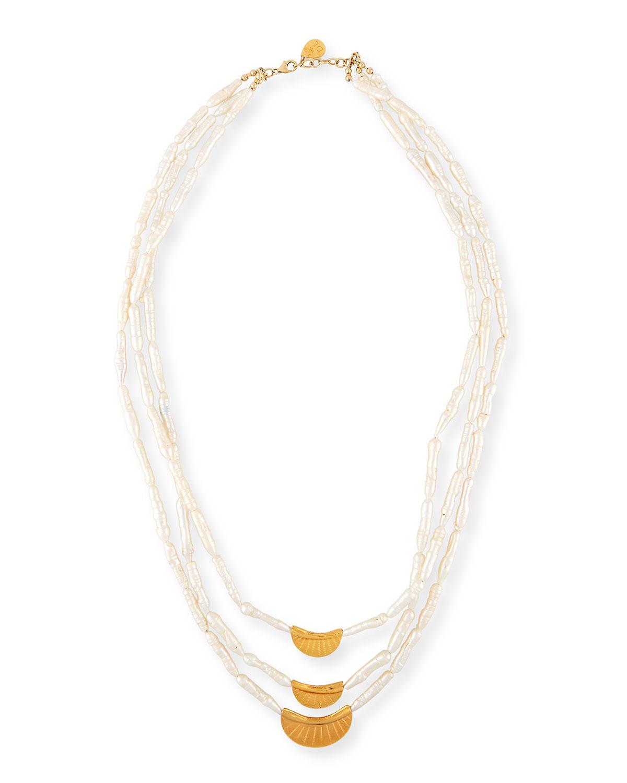 97d7c9332670 Lyst - Devon Leigh Three-strand Stick Pearl Necklace in White